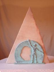 Espace#3 grès et bronze, 45cm