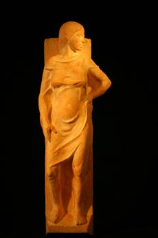 civilisation, plâtre patiné, 45x17x10cm