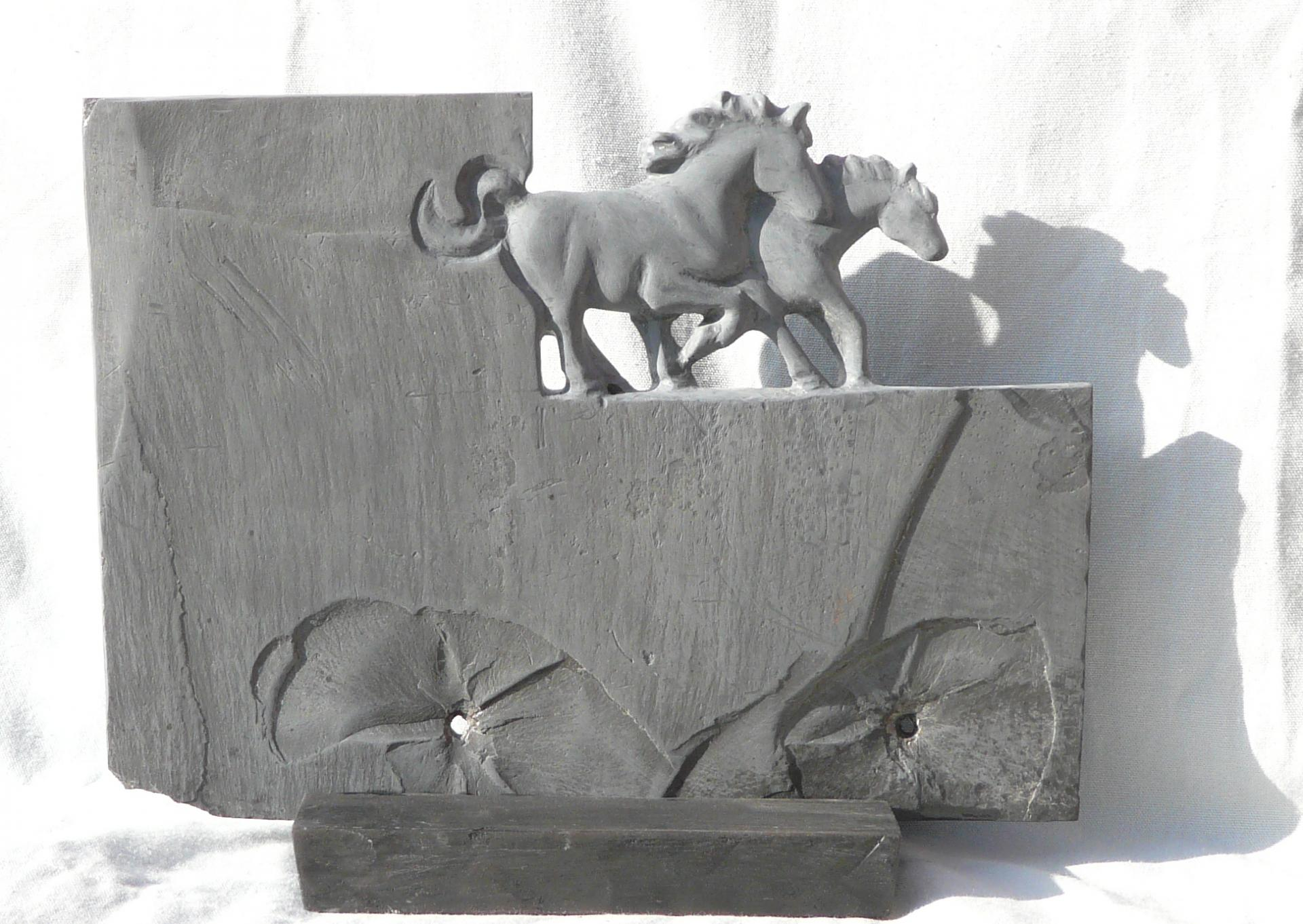 Equus  Ferus 2, Ardoise, Slate, h 28cm