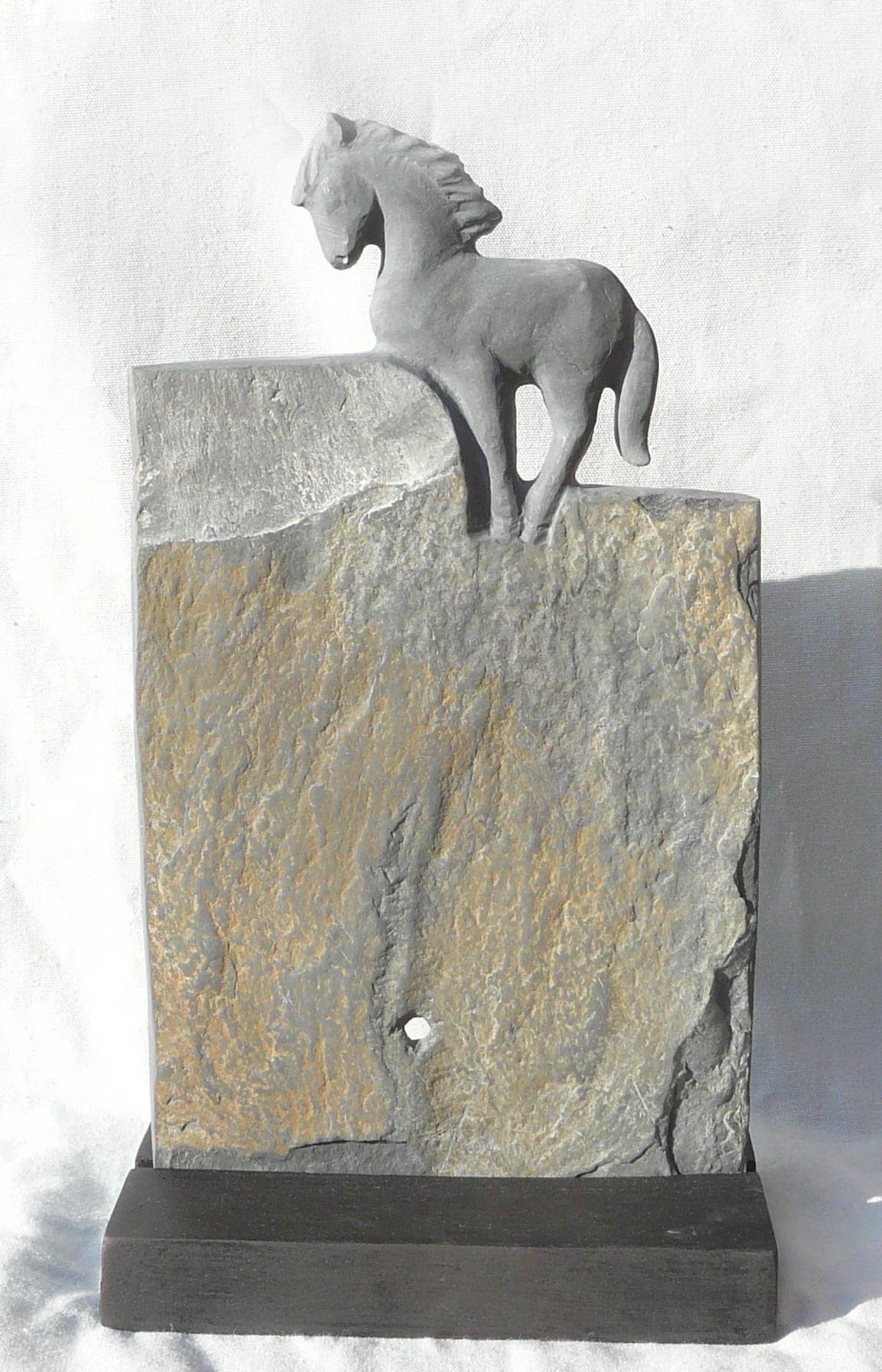 Equus Ferus 1 Ardoise, Slate, h 35cm