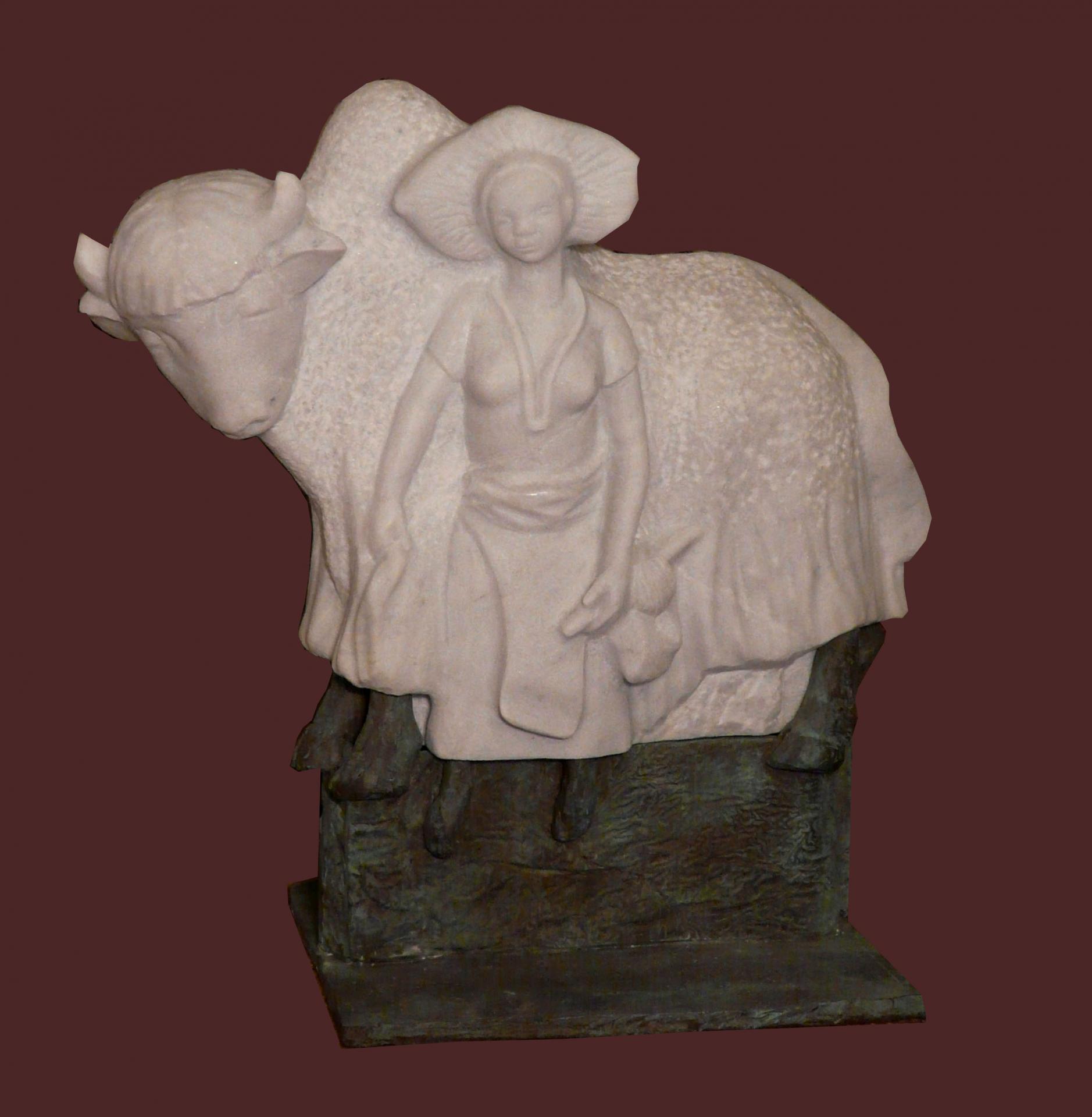 Le yack blanc, Marbre de Carrare et bronze
