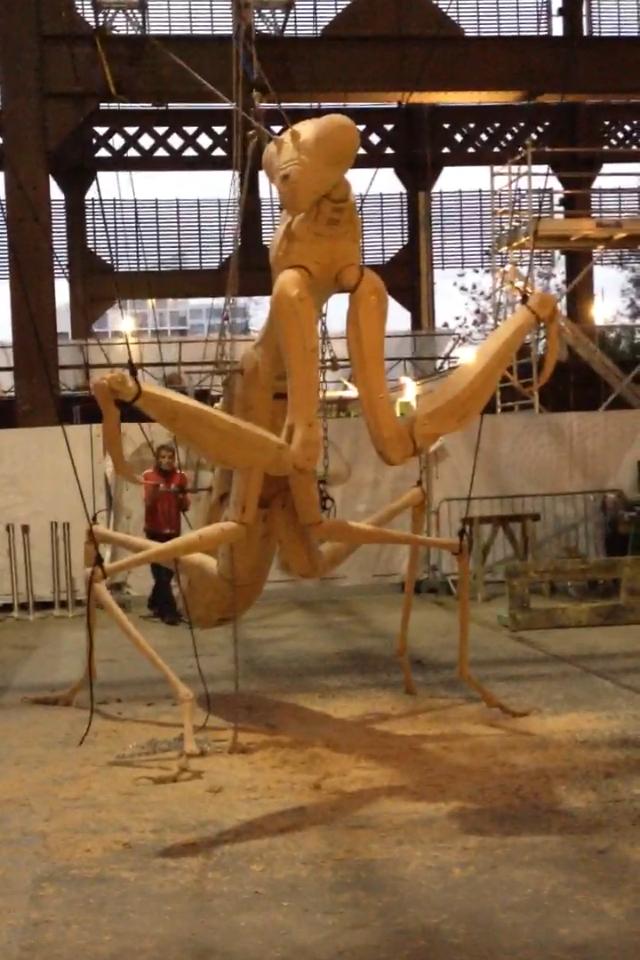 Mante Religieuse, marionnette à fil, h:4m, La Machine, Nantes