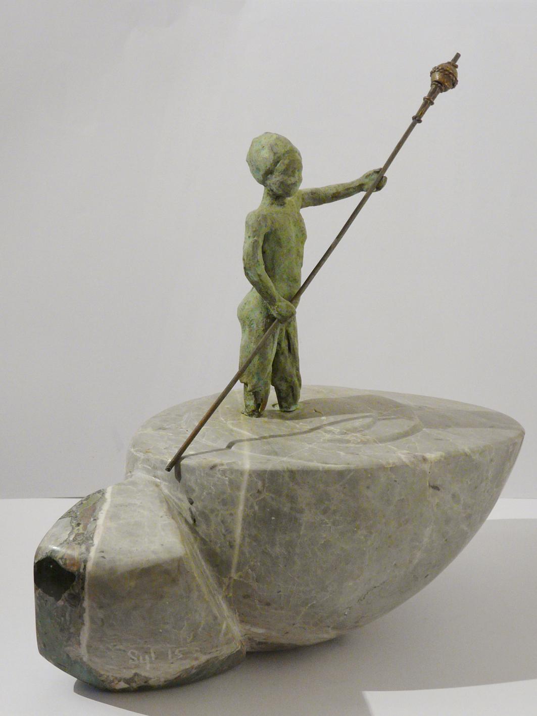 Les porteurs de rêves 1, culbuto, marbre de St Lary et bronze